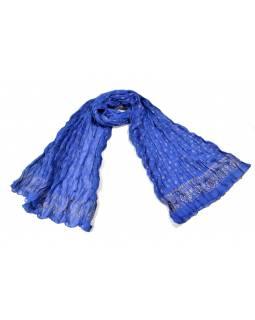 Šátek, tmavě modrý, mačkaná úprava, zlatý tisk, 110x170cm