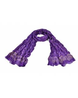 Šátek, fialový, mačkaná úprava, zlatý tisk, 110x170cm