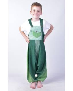 Dětské kalhoty s laclem, zelené