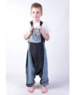 Dětské kalhoty s laclem, šedé