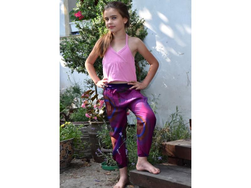 """Dětské kalhoty balonové, """"Disco design"""", fialové"""
