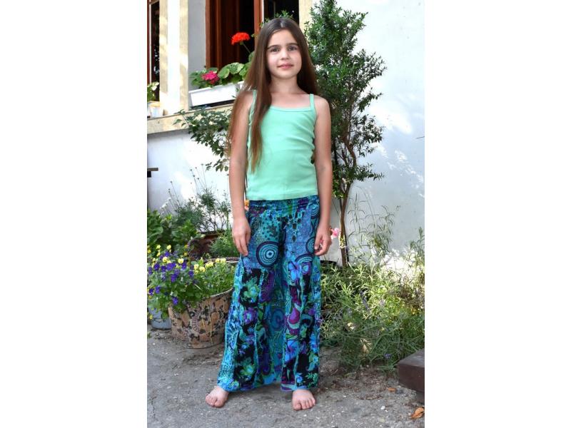 """Dětské modré zvonové kalhoty s potiskem, """"Patchwork design"""", elastický pas"""