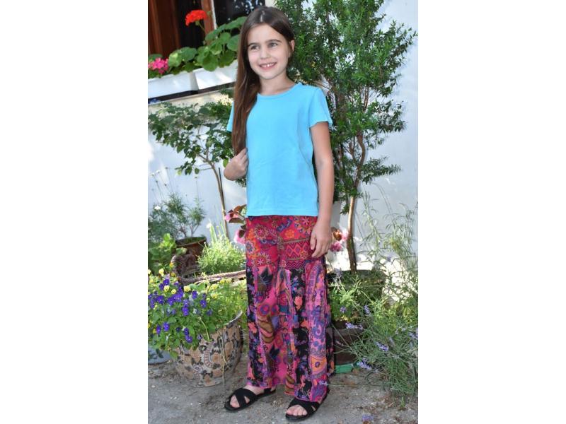 """Dětské fialové zvonové kalhoty s potiskem, """"Patchwork design"""", elastický pas"""