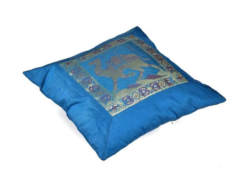 Povlak na polštář, modrý s velbloudem, zlatá výšivka, 40x40cm