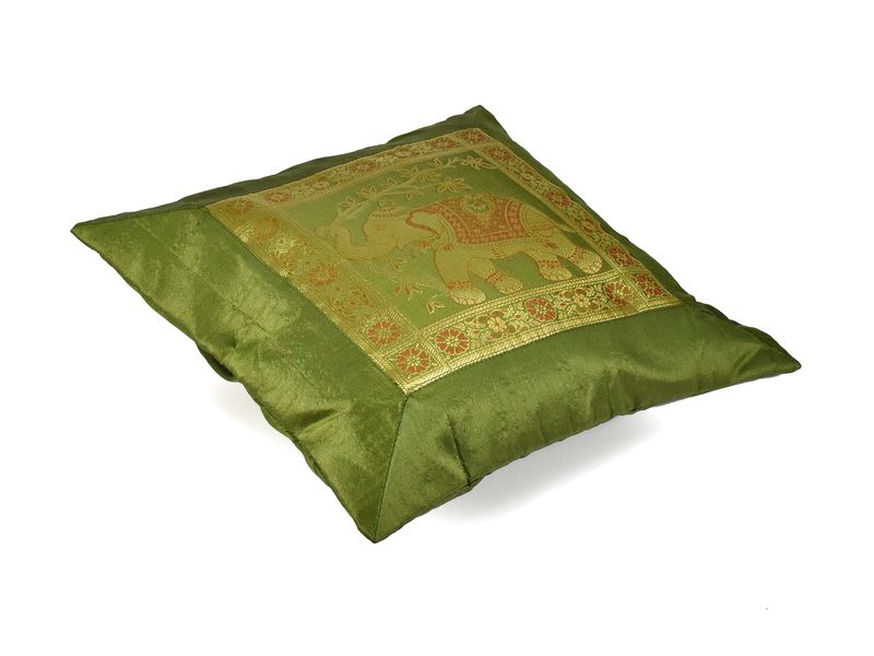 Povlak na polštář, zelený se slonem, zlatá výšivka, 40x40cm
