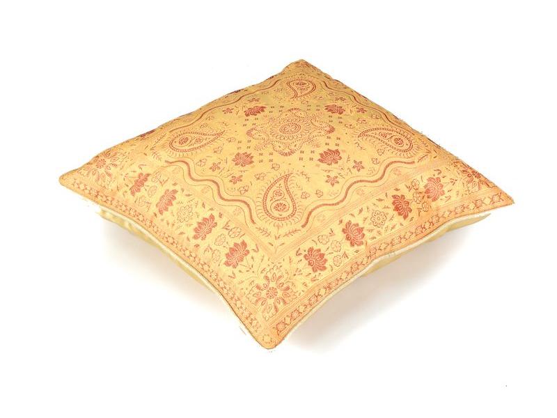 Povlak na polštář, saténový, výšivka paisley a květiny, béžovo-vínový, 40x40cm