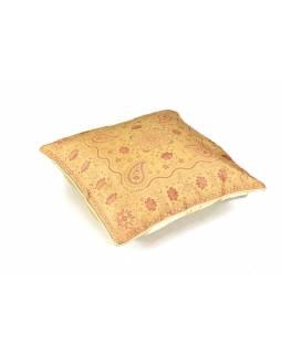 Povlak na polštář, limetkový s květinami, zlatá výšivka, 40x40cm