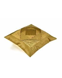 Povlak na polštář, zlatý, geometrické tvary, zlatá výšivka, 40x40cm