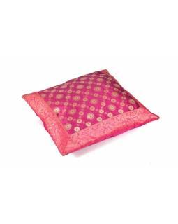 Povlak na polštář, růžový, kolečka, zlatá výšivka, 40x40cm