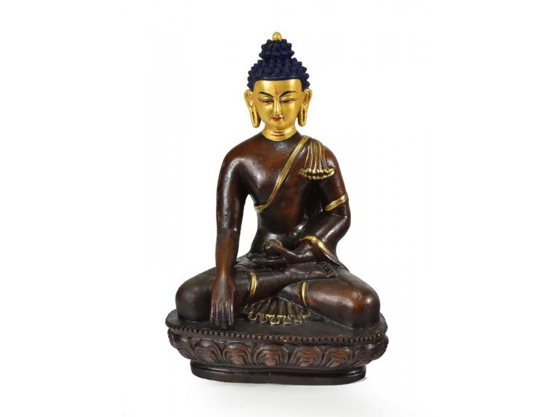 Buddha Šákjamuni sedící na lotosovém trůnu, zlacený, keramika, 15x23cm