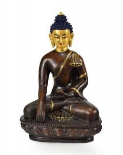Buddha Šakjamini sedící na lotosovém trůnu, zlacený, keramika, 15x23cm