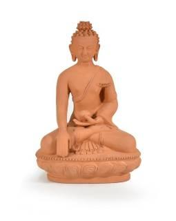 Buddha Šakjamini sedící na lotosovém trůnu, keramika, 16x24cm
