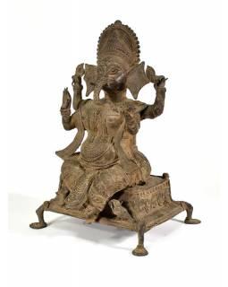Kovová soška Ganéš, antik patina, 26x42cm