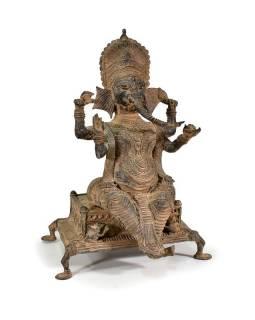 Kovová soška Ganéš, antik patina, 26x40cm