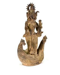 Kovová soška Saraswati s labutěmi, Tribal art, 18x36cm