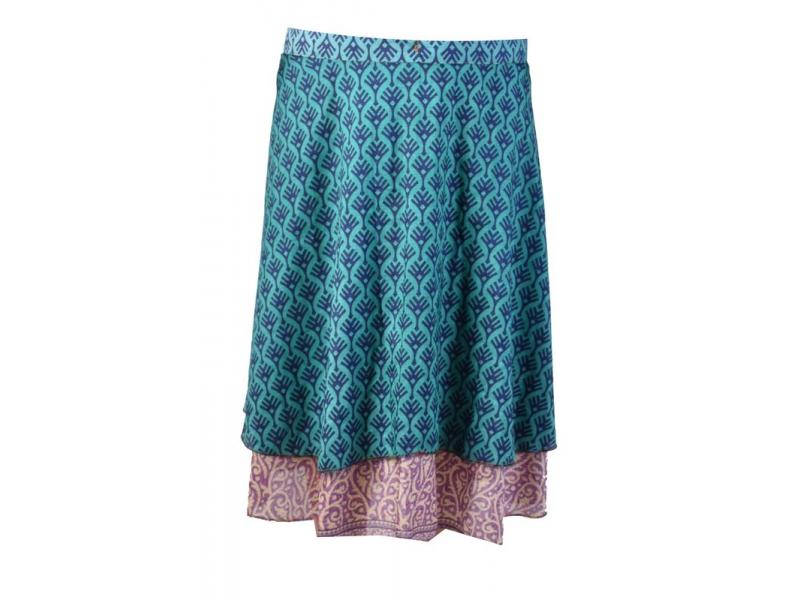 78d6e5c4fad Tříčtvrteční zavinovací sukně z recyklovaných sárí