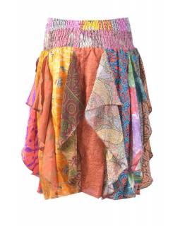 Multibarevná tříčtvrteční sukně z recyklovaných sárí s cípy (šaty), bobbin