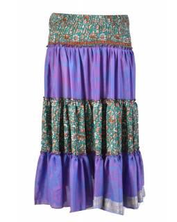 Dlouhá patchworková sukně z recyklovaných sárí