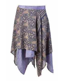 Tříčtvrteční zavinovací sukně z recyklovaných sárí, mix barev a designů