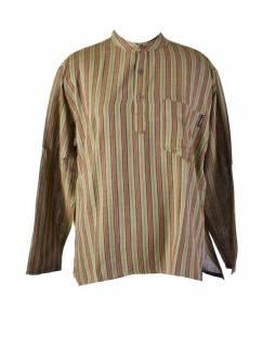 Pruhovaná pánská košile-kurta s dlouhým rukávem a kapsičkou, khaki