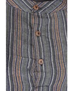 Pruhovaná pánská košile-kurta s dlouhým rukávem a kapsičkou, šedá