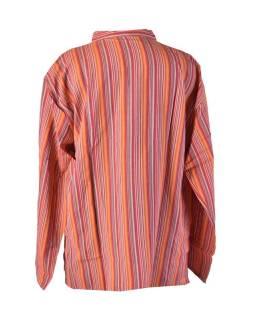 Pruhovaná pánská košile-kurta s dlouhým rukávem a kapsičkou, růžová