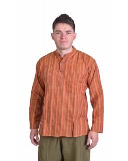 Pruhovaná pánská košile-kurta s dlouhým rukávem a kapsičkou, oranžová