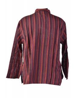 Pruhovaná pánská košile-kurta s krátkým rukávem a kapsičkou, fialovo vínová