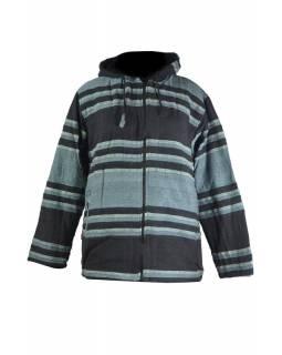Pánská šedo-černá pruhovaná bunda s kapucí, zapínání na zip a kapsy