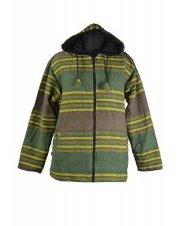 Pánská zeleno-khaki-žlutá pruhovaná bunda s kapucí, zapínání na zip a kapsy