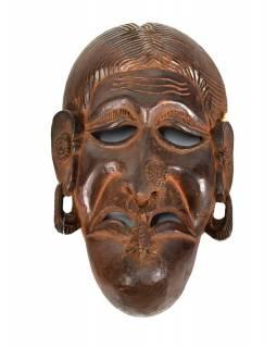 Dřevěná maska, ruční práce, antik patina, dřevo, 27x28cm