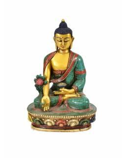 Soška Medicine Buddhy , pozlacená, zdobená polodrahokamy, 18cm