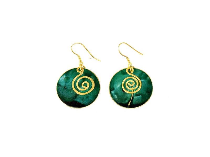 Zelené visací kruhové náušnice, zlatý kov