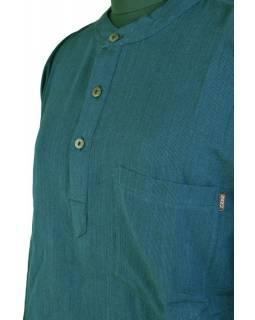 Petrolejová tmavá pánská košile-kurta s dlouhým rukávem a kapsičkou