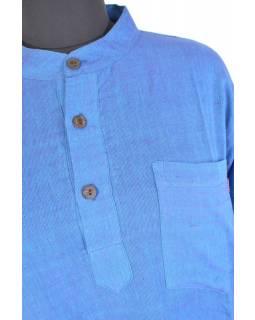 Modrá pánská košile-kurta s dlouhým rukávem a kapsičkou