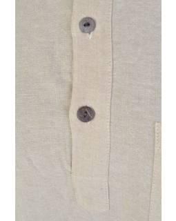 Béžová pánská košile-kurta s krátkým rukávem a kapsičkou