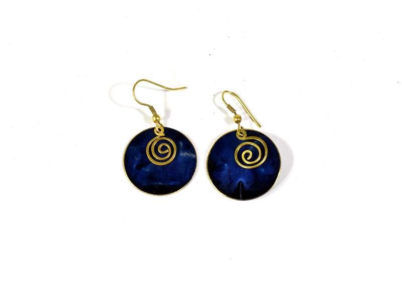 Modré modré visací kruhové náušnice, zlatý kov
