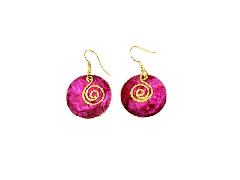 Růžové visací kruhové náušnice, zlatý kov