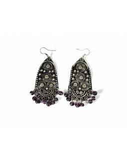 Ozdobné visací náušnice s fialovými korálky, antik stříbrný kov