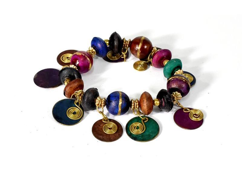 Náramek na gumičce s multibarevnými korálky, zlatý kov
