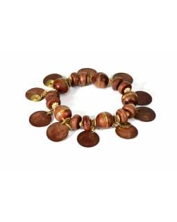 Náramek na gumičce s hnědými korálky, zlatý kov
