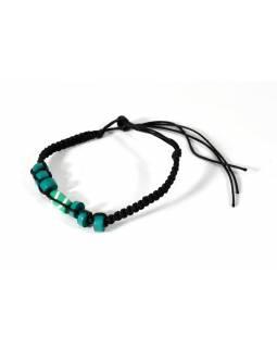 Černý pletený náramek s tyrkysovými korálky, nastavitelná velikost