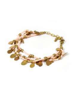 Korálkový náramek s lososovými korálky, zlatý kov