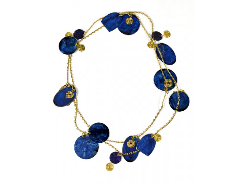 Dlouhý náhrdelník s modrými a zlatými kolečky, zlatý kov