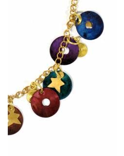 Náhrdelník s multibarevnými a zlatými kolečky a hvězdičkami, zlatý kov