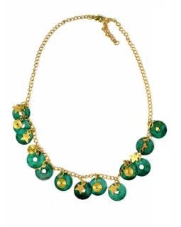 Náhrdelník se zelenými a zlatými kolečky a hvězdičkami, zlatý kov