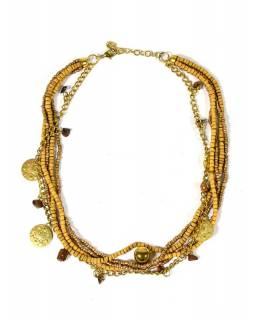 Korálkový náhrdelník s dřevěnými korálky a tygřím okem