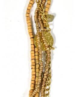 Korálkový náhrdelník s dřevěnými korálky a labradoritem