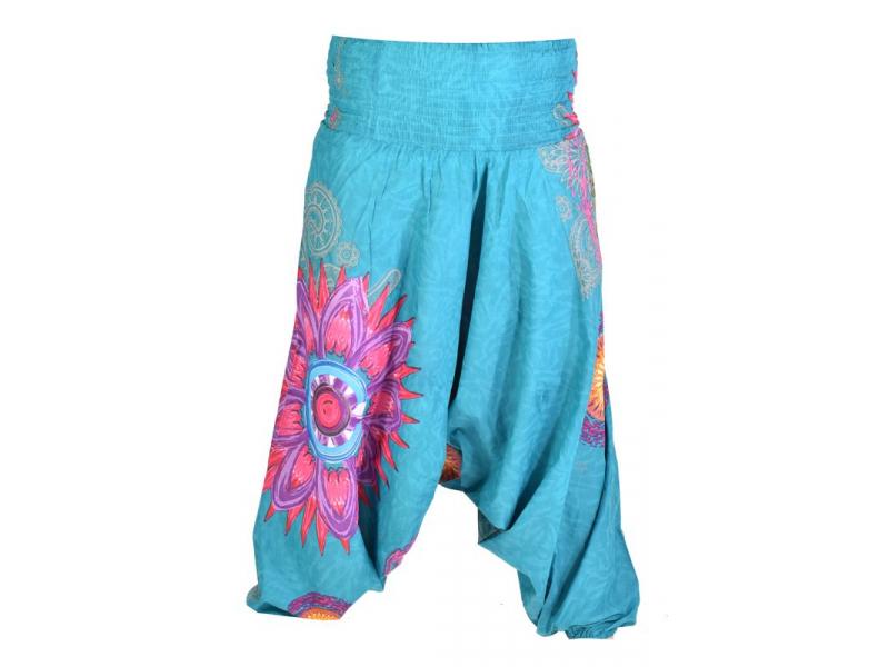 "Tyrkysové turecké kalhoty-overal-halena 3v1 ""Mandala"", barevné mandaly, žabičkov"