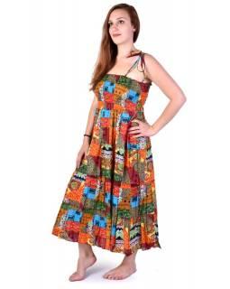 """Dlouhé multibarevné šaty naramínka """"Summer"""" žabičkování"""